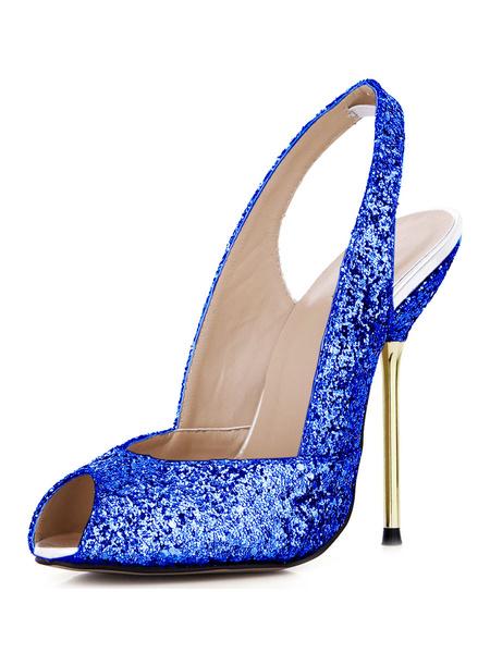 Milanoo High Heel Sandals Womens Python Peep Toe Slingback Stiletto Heels Sandals