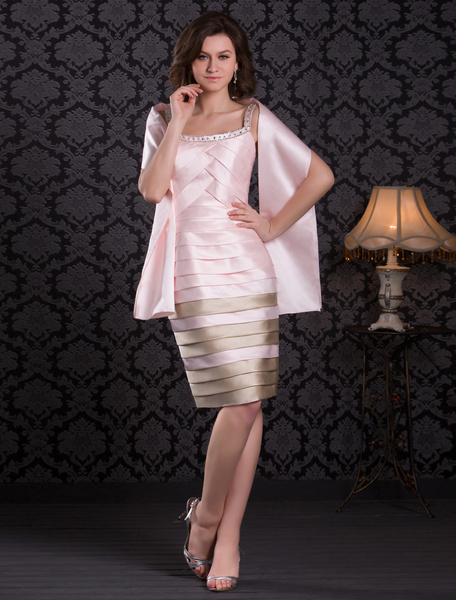 Milanoo  Cocktail Dresses 2020 soft pink Satin Sheath pleated tiered beading short Wedding Guest Dress