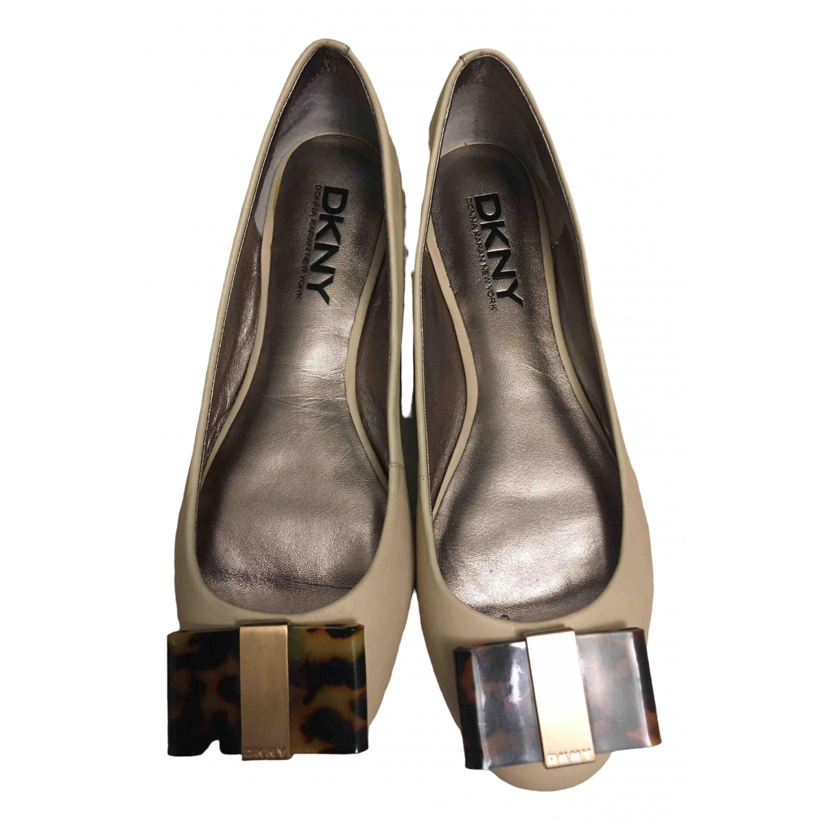 Dkny N Beige Leather Ballet flats for Women 37 EU