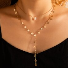 Faux Pearl & Star Lariat Necklace