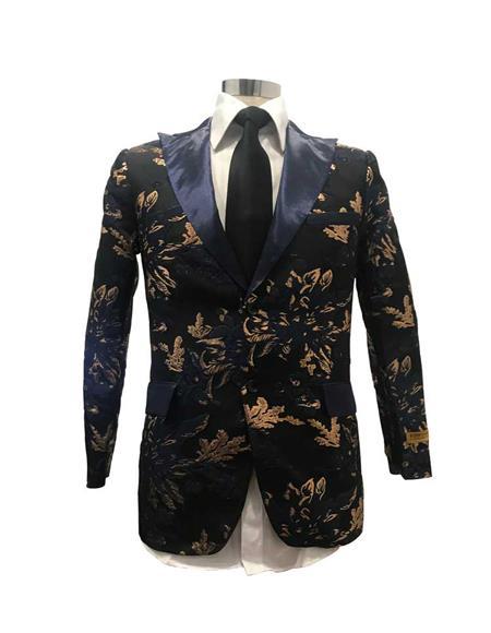 Mens Floral Satin Fashion Blazer Dinner Stage Fancy Party Black/Gold