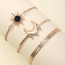 3 Stuecke Armband mit Strass Dekor