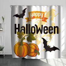 Duschvorhang mit Halloween Kuerbis Muster