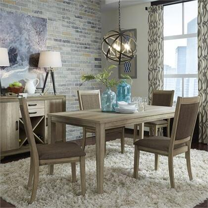 Sun Valley Collection 439-DR-O5RLS 5PC Rectangular Table Set with 4x Uph Side Chair and 1 Rectangular Leg Table in Sandstone