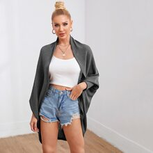 Open Front Batwing Sleeve Solid Coat