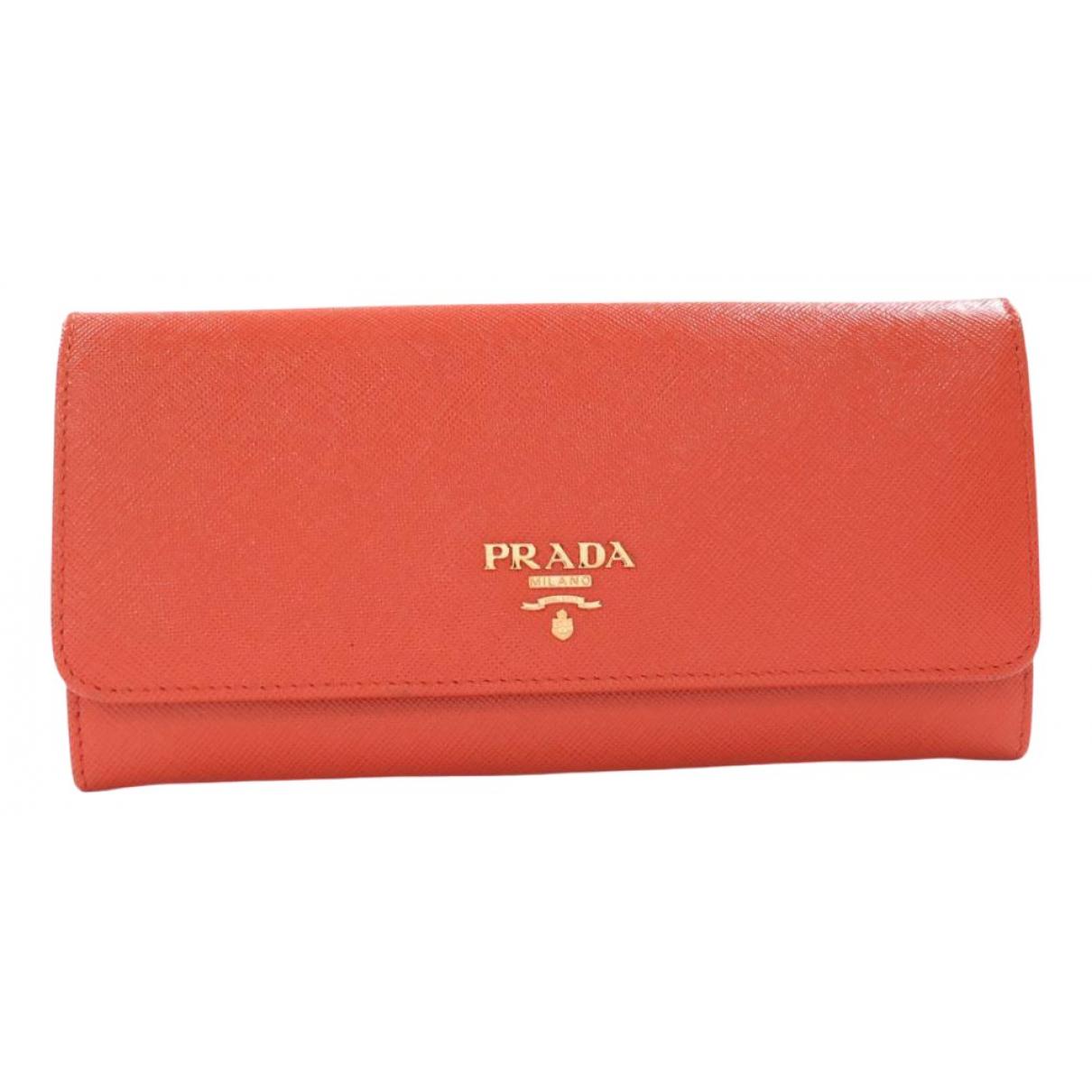 Prada - Portefeuille   pour femme en cuir - orange