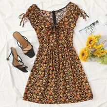 Sweetheart Neck Knotted Floral Print Dress