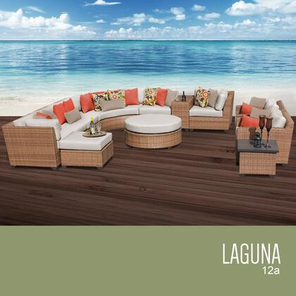 LAGUNA-12a-BEIGE Laguna 12 Piece Outdoor Wicker Patio Furniture Set 12a with 2 Covers: Wheat and
