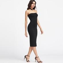 Black Bodycon Midi Tube Dress