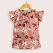 Girls Ruffle Armhole Floral Print Top