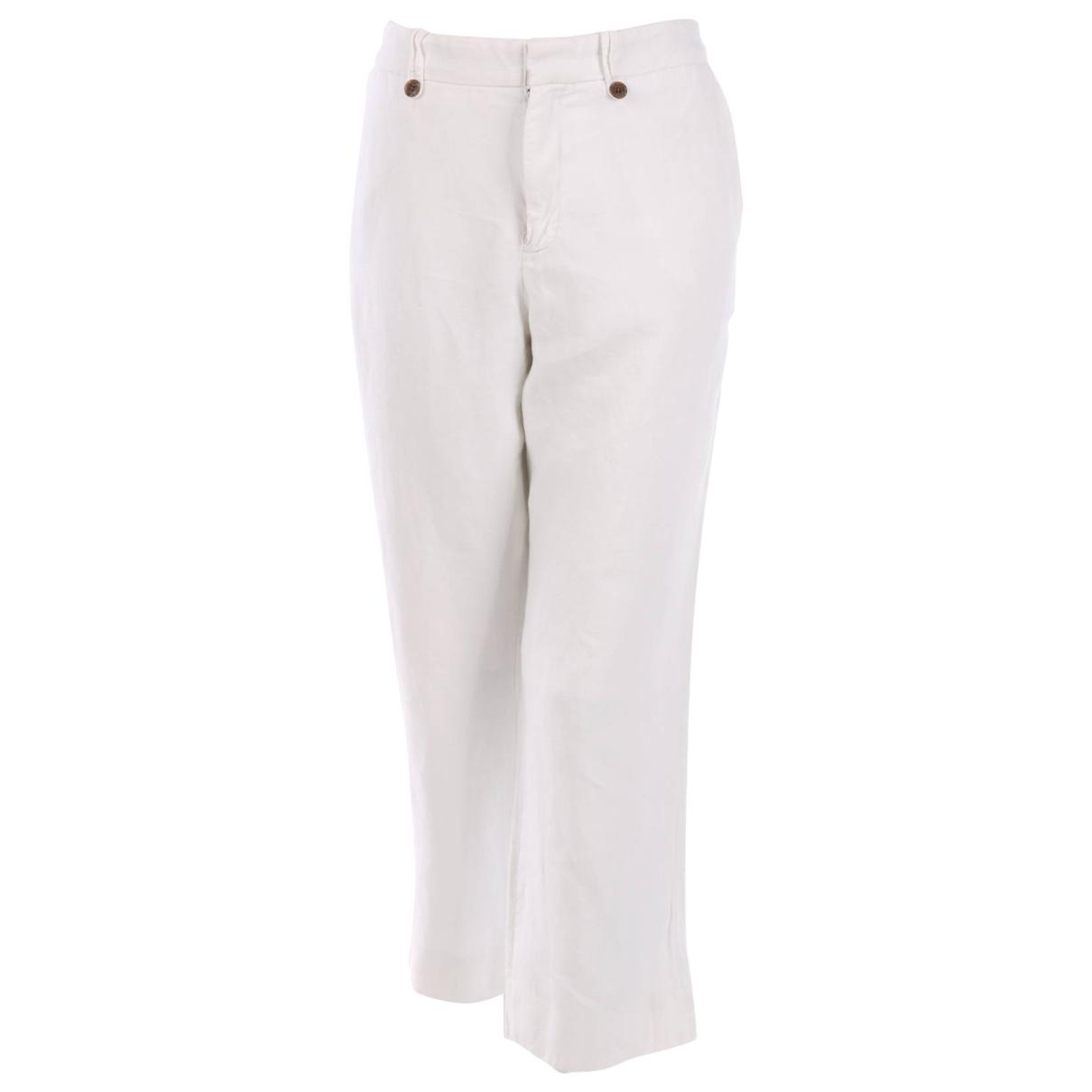 Emporio Armani \N White Linen Trousers for Women XXL International