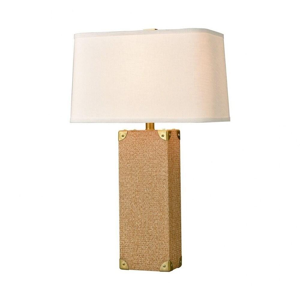 Albert Head - 1 Light Table Lamp  Natural/Honey Brass/Honey Brass Finish with Textured White Linen (Natural/Honey Brass/Honey Brass)