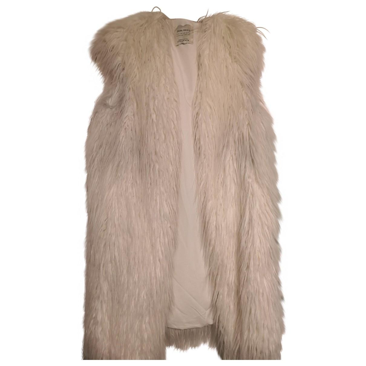 Zara - Veste   pour femme en fourrure synthetique - blanc