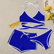 3pack Contrast Binding Wrap Co-ord Bikini Swimsuit