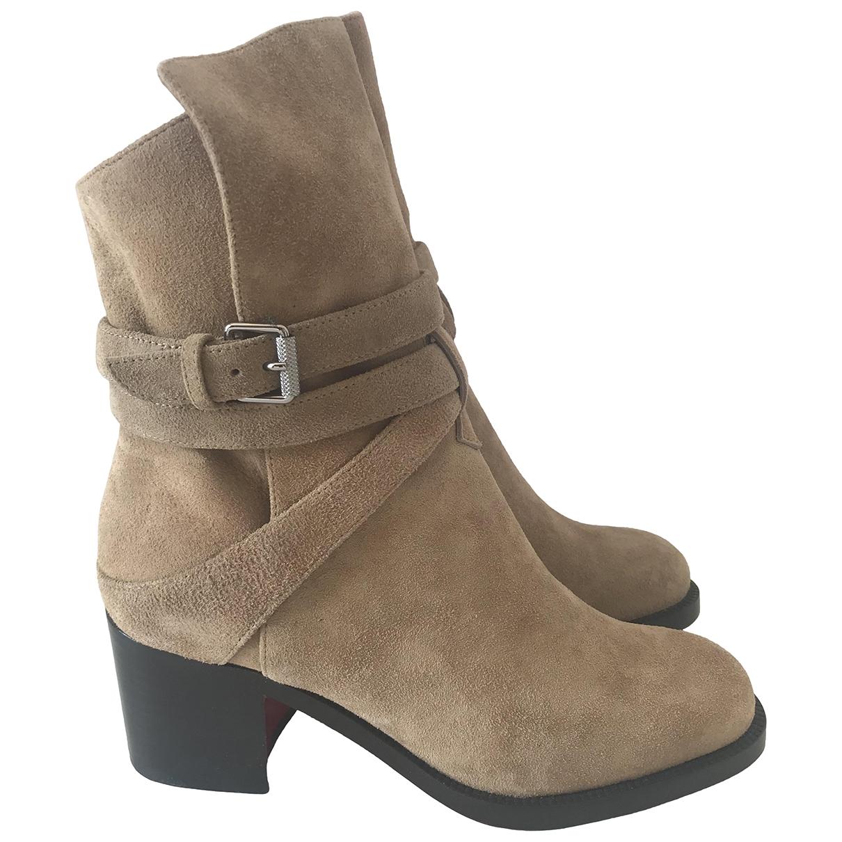 Christian Louboutin - Boots   pour femme en suede - camel