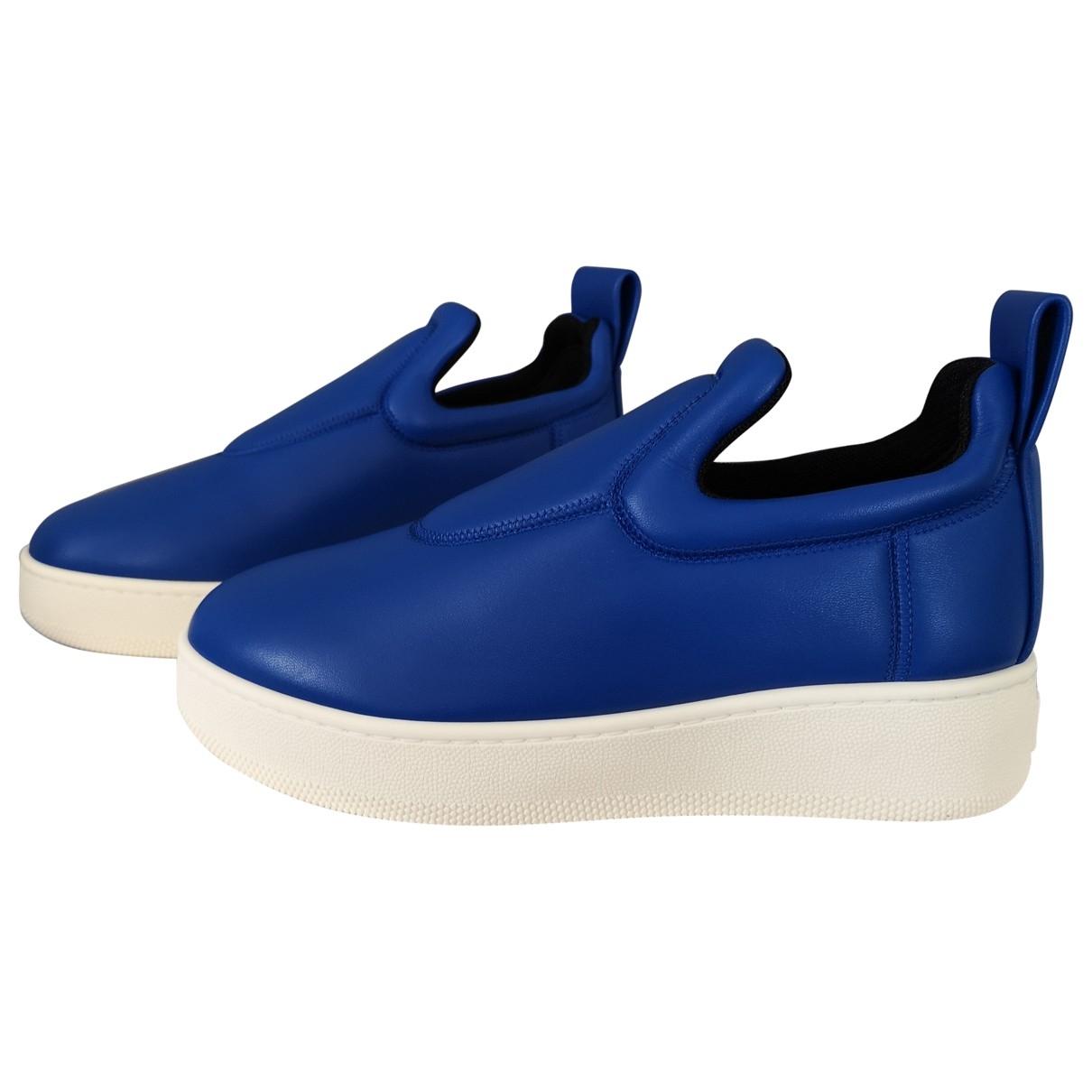 Celine - Baskets Pull On  pour femme en cuir - bleu