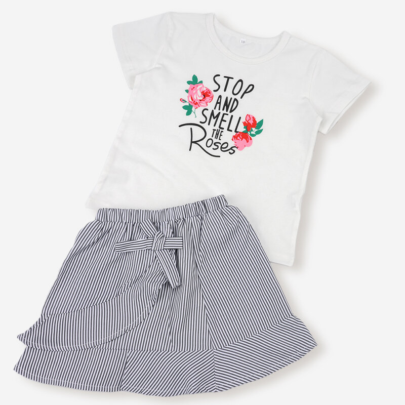 Girl's Printed Short Sleeves Tops+Striped Skirt Casual Clothing Set For 1-8Y
