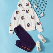 Girls Unicorn and Letter Graphic Hoodie and Joggers Set
