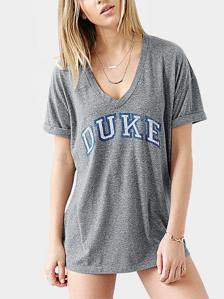 Yoins Fashion Round Neck Letter Pattern T-shirt