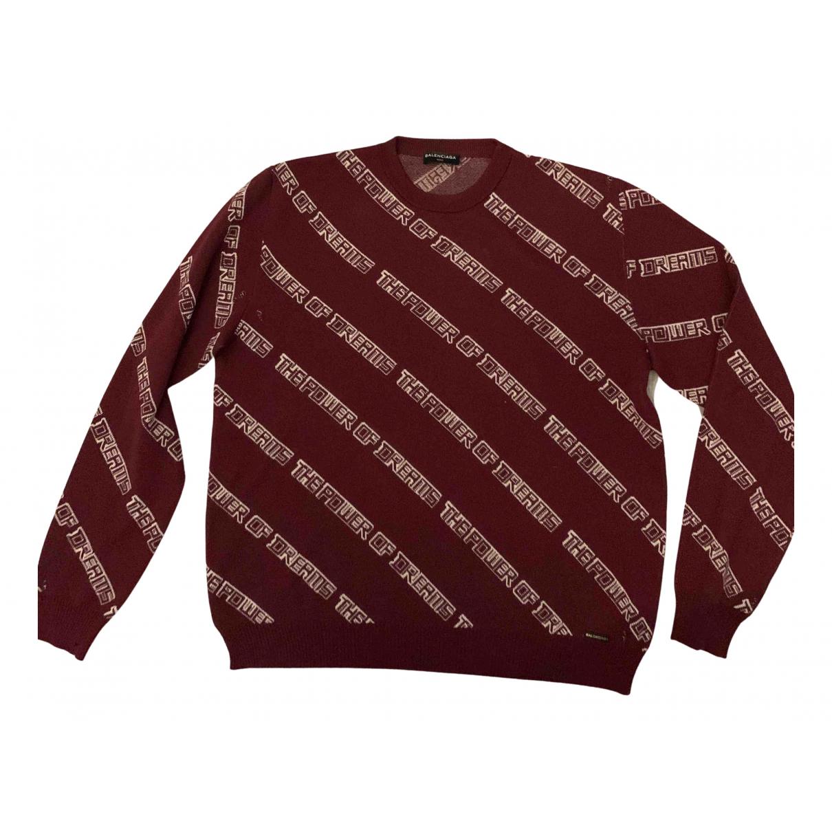 Balenciaga \N Pullover.Westen.Sweatshirts  in  Bordeauxrot Wolle