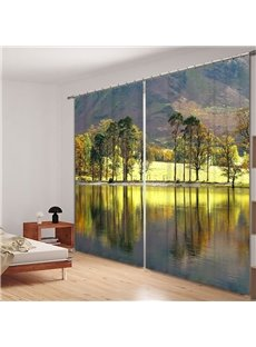 Graceful Lakes and Mountains 3D Printing Polyester Curtain