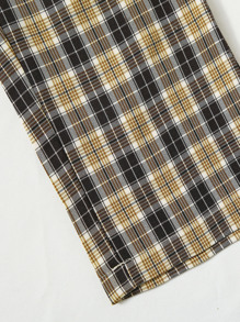 Plaid Button Fly Pants