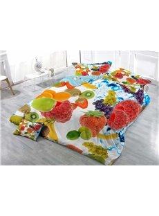 Fresh Fruit Wear-resistant Breathable High Quality 60s Cotton 4-Piece 3D Bedding Sets