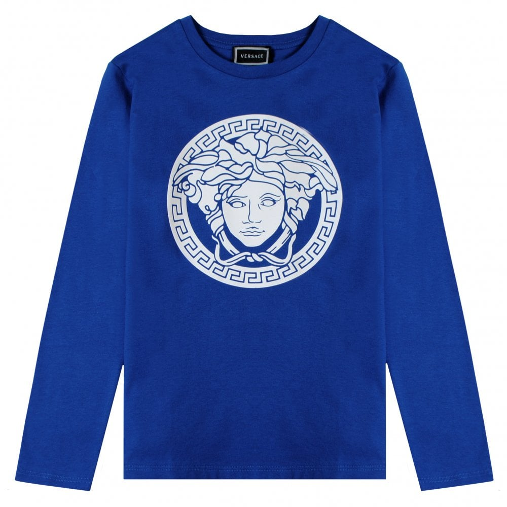 Versace Young Versace Medusa Print T-Shirt Colour: BLUE, Size: 12 YEARS