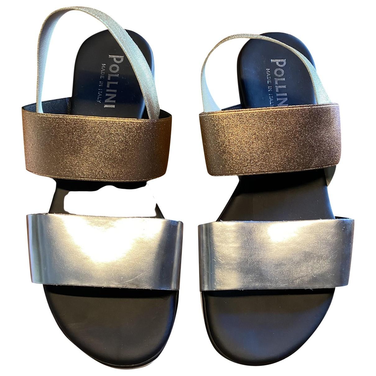 Pollini \N Sandalen in  Silber Leder