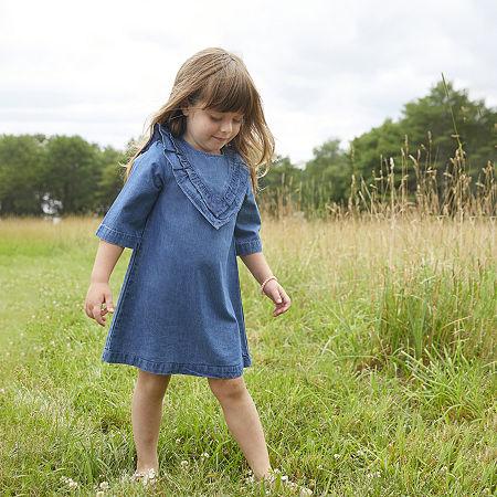Okie Dokie Toddler Girls 3/4 Balloon Sleeve Shift Dress, 2t , Blue