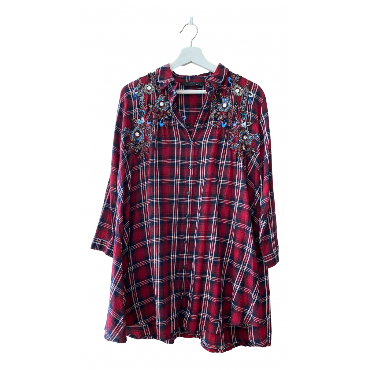 Zara - Top   pour femme en coton - bordeaux