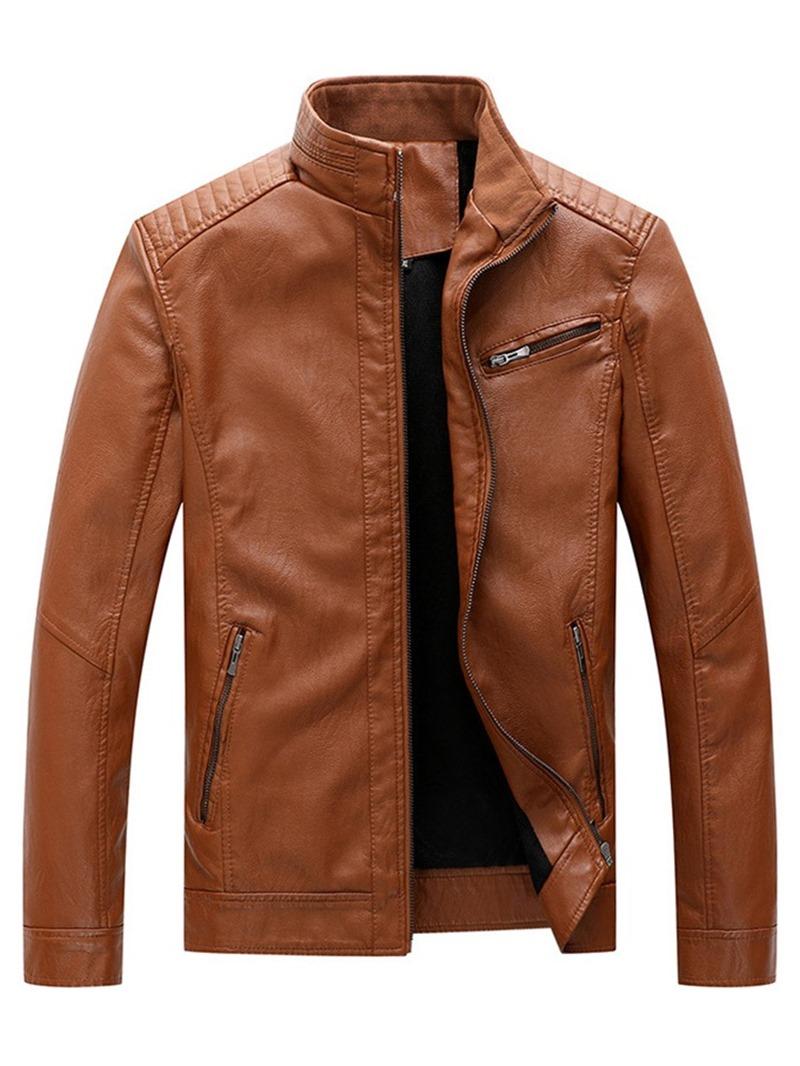 Ericdress Zipper Plain Stand Collar Men's Slim Jacket