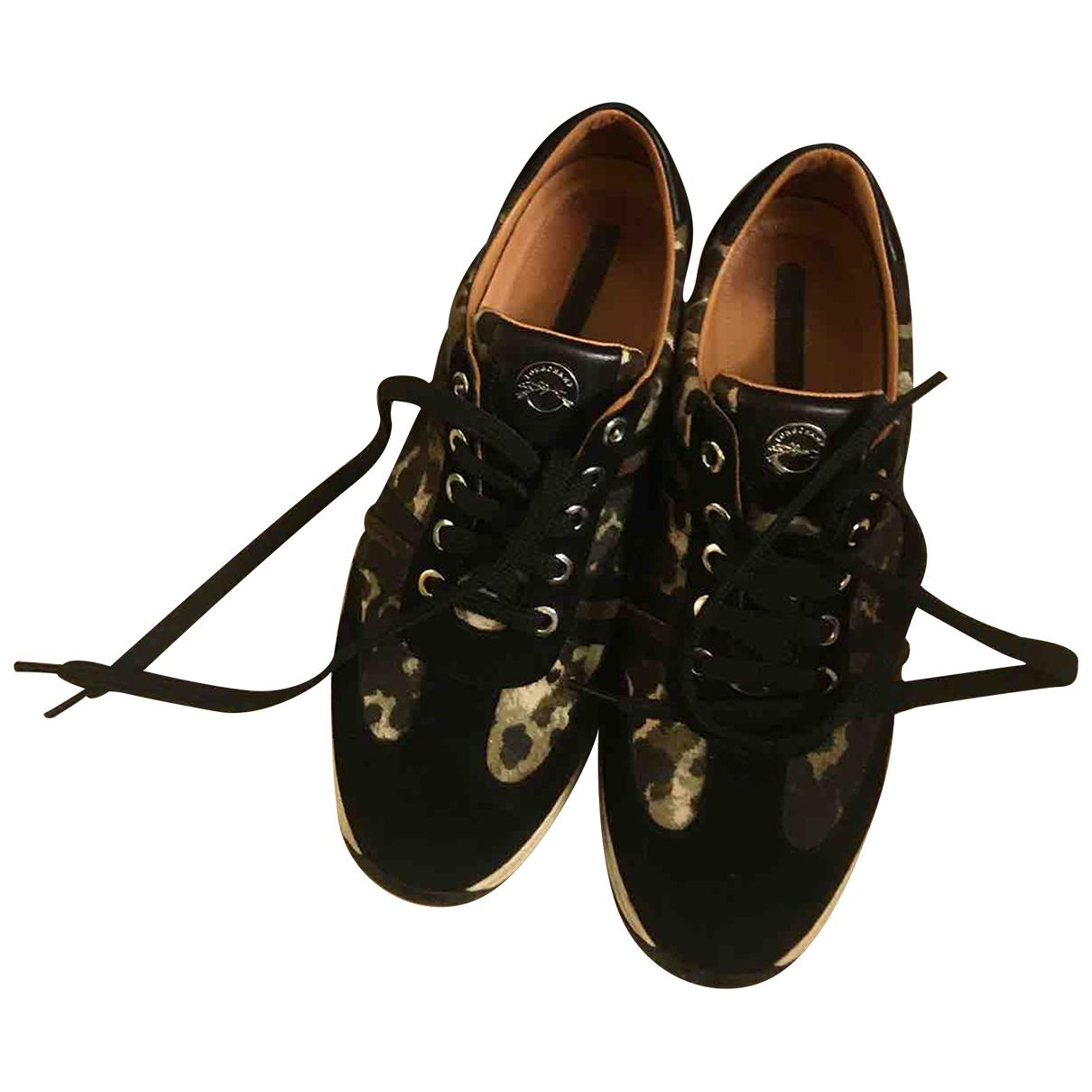Longchamp - Baskets   pour femme en cuir - kaki