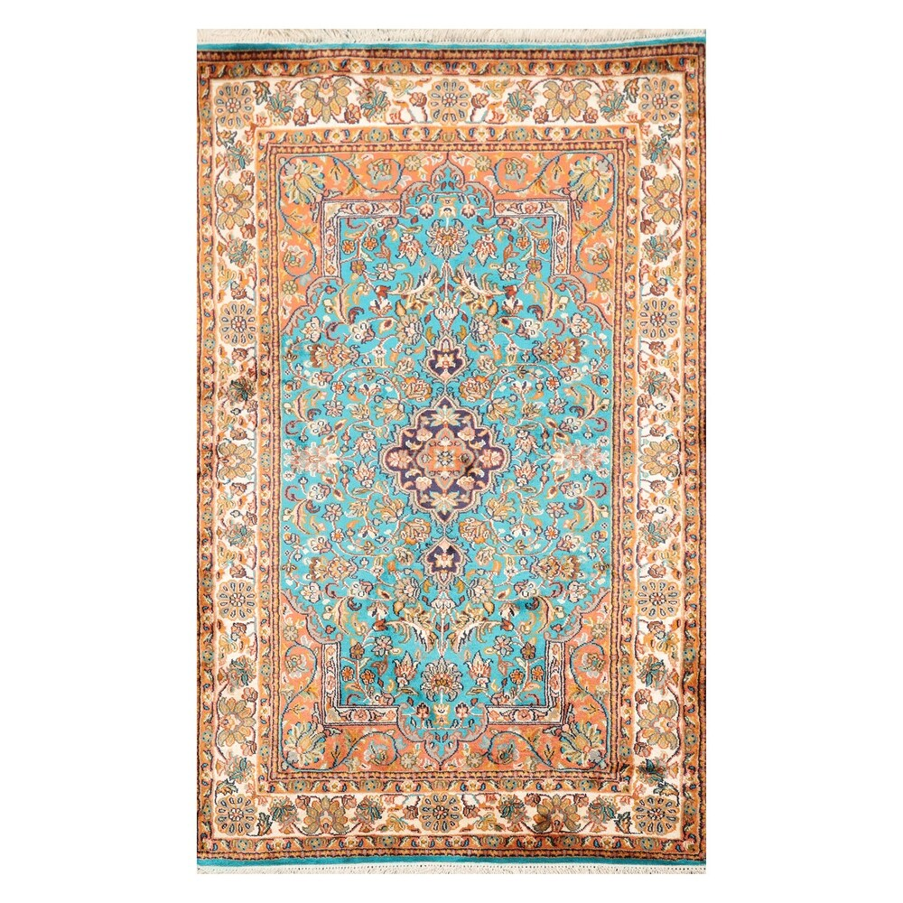 Hand Knotted 350 KPSI  Beige,Navy Persian Silk Traditional Oriental Area Rug (4x6) - 2' 7'' x 4' 1'' (Teal - 2' 7'' x 4' 1'')