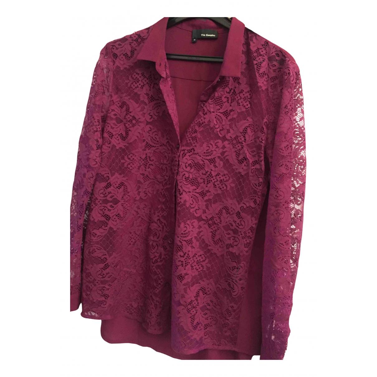 The Kooples - Top   pour femme en coton - bordeaux