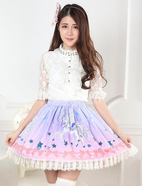 Milanoo Sweet Lolita Skirt Unicorn Printed SK Lolita Skirt