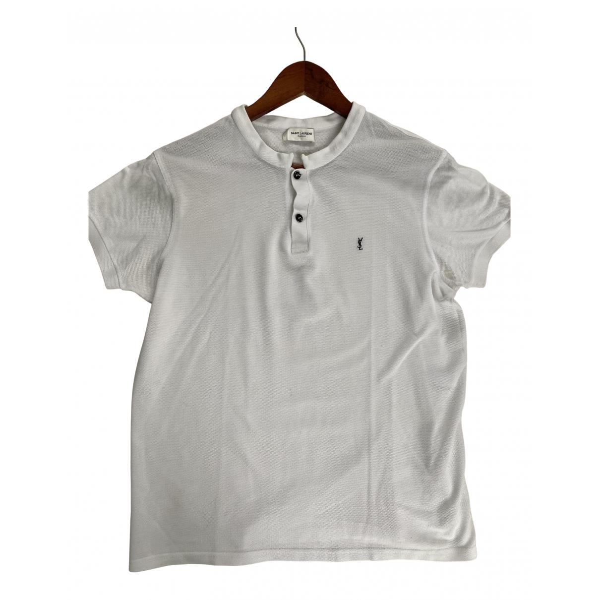 Saint Laurent - Polos   pour homme en coton - blanc