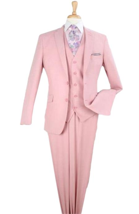 Mens 3 piece modern fit Peach Poly Rayon vested suit Flat Front Pants