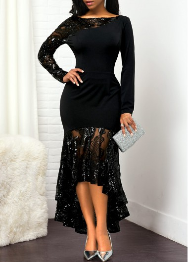 Women'S Black Lace Panel High Low Cocktail Party Dress Solid Color Long Sleeve Elegant Maxi Evening Party Dress By Rosewe - XXL