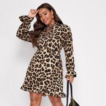 Vestidos Tallas Grandes Volante rigido Leopardo Casual