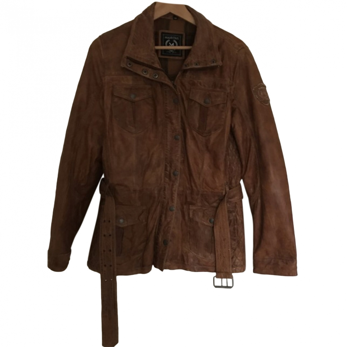 Non Signé / Unsigned \N Brown Leather Leather jacket for Women 44 FR