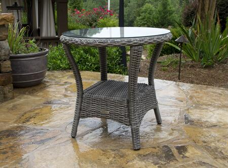 BAY-SIDE-DRIFTWOOD Bayview Side Table with Aluminum Frame  Tempered Glass Top and All-Weather Resin Wicker in Driftwood