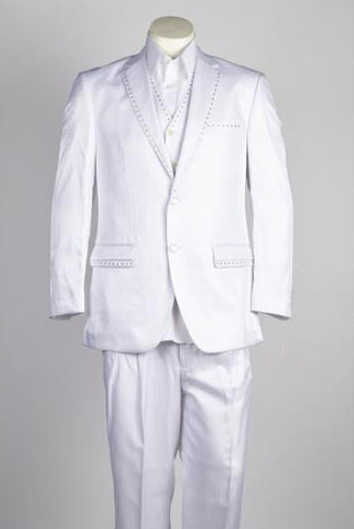 Mens 2 Button White Single Breasted Suit
