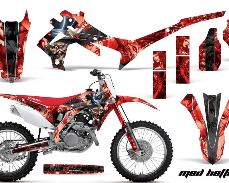 AMR Racing Dirt Bike Graphics Kit Decal Sticker Wrap For Honda CRF250R 2014-2017áHATTER BLACK RED