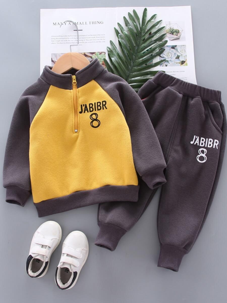 LW Lovely Sportswear Letter Print Patchwork Yellow Boy Two Piece Pants Set