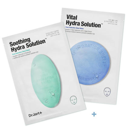 Dr. Jart+ Mask Combo Set 2, Deep Hydration Mask 1Pc & Soothing Hydra Solution Mask 1Pc