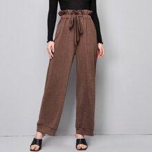 Pantalones de pierna ancha de cintura con volante con cordon