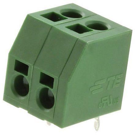 TE Connectivity 5mm Pitch, 2 Way PCB Terminal Strip, Green (10)