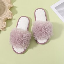 Open Toe Wide Fit Fluffy Slippers