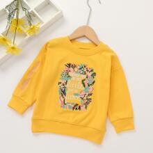 Sweatshirt mit Buchstaben & Blumen Stickereien